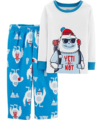 b4b67f85d74d Amazon.com  Carter s Boy s 2-Piece Yeti Cotton and Fleece Pajamas ...