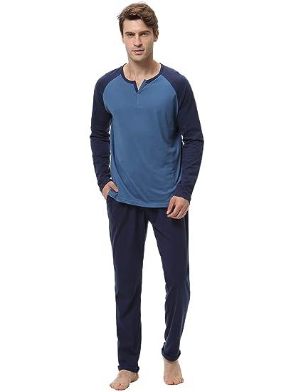 d5fac035108d2 Aibrou Pyjama Homme 100% Coton Ensemble Pyjamas Chauds Homme Manche Longue  Col V Ensemble de