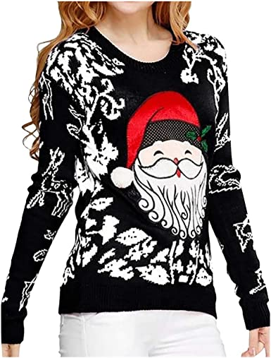 ✶ HebeTop ✶Womens Christmas Print Long Sleeve T-Shirt Loose Blouse O Neck Baseball Tee Shirt Tops