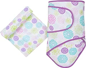 Miracle Blanket & Matching Muslin Swaddle Combo Pack (Colorful Bursts)
