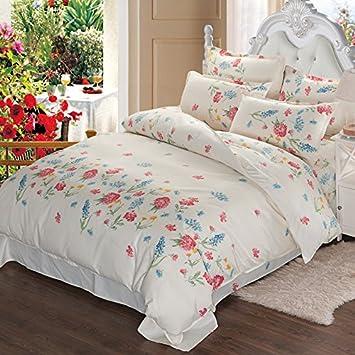 Blumen Bedruckte Bettdecke Und Kissenbezug Set Mädchen Steppdecke