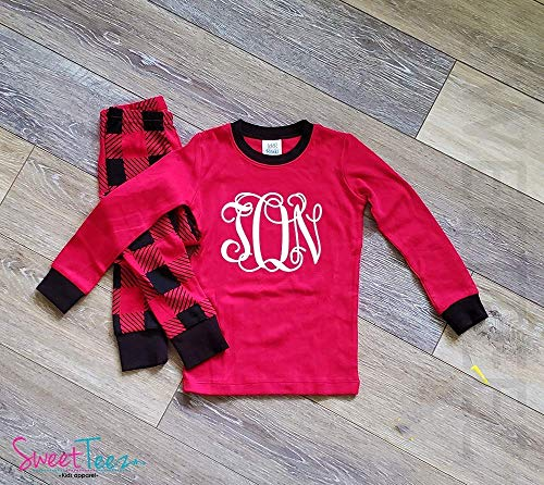 Monogrammed Christmas Pajamas, Plaid Christmas Pajamas For Kids, Personalized Kids Christmas Pajamas ()
