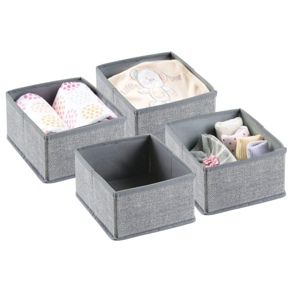 mDesign Baby Organiser - Set of 4 Baby Storage Baskets for Baby Accessories - Ideal Playroom Storage - Grey MetroDecor
