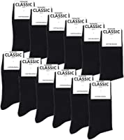 Falechay Herren Business Socken 12 Paar Classic Schwarz Atmungsaktive Baumwolle