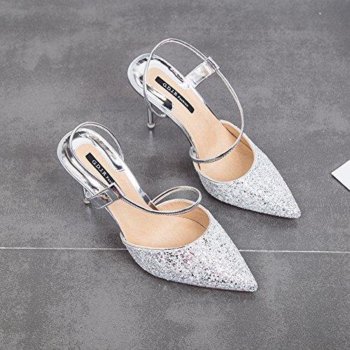 GTVERNH Crystal Shoes Princesa 9 Cm De Tacon Alto Fino Zapatos Zapatillas Chicas Sandalias De Verano. silvery