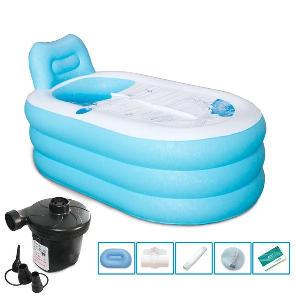 Electric Pump Large Dccer Inflatable bathtub adult folding plastic bathtub to keep warm, bluee (with electric pump or manual pump) (color   Foot Pump, Size   M)