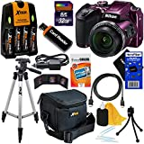 Nikon COOLPIX B500 Wi-Fi, NFC Digital Camera w/40x Zoom & HD Video (Plum) - International Version (No Warranty) + 4 AA Batteries with Charger + 10pc 32GB Dlx Accessory Kit w/ HeroFiber Cleaning Cloth