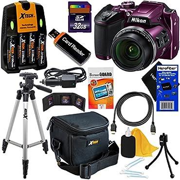 Nikon COOLPIX B500 Wi-Fi, NFC Digital Camera w/40x Zoom & HD Video (Plum) International Version (No Warranty) + 4 AA Batteries with Charger + 10pc 32GB Dlx Accessory Kit w/ HeroFiber Cleaning Cloth