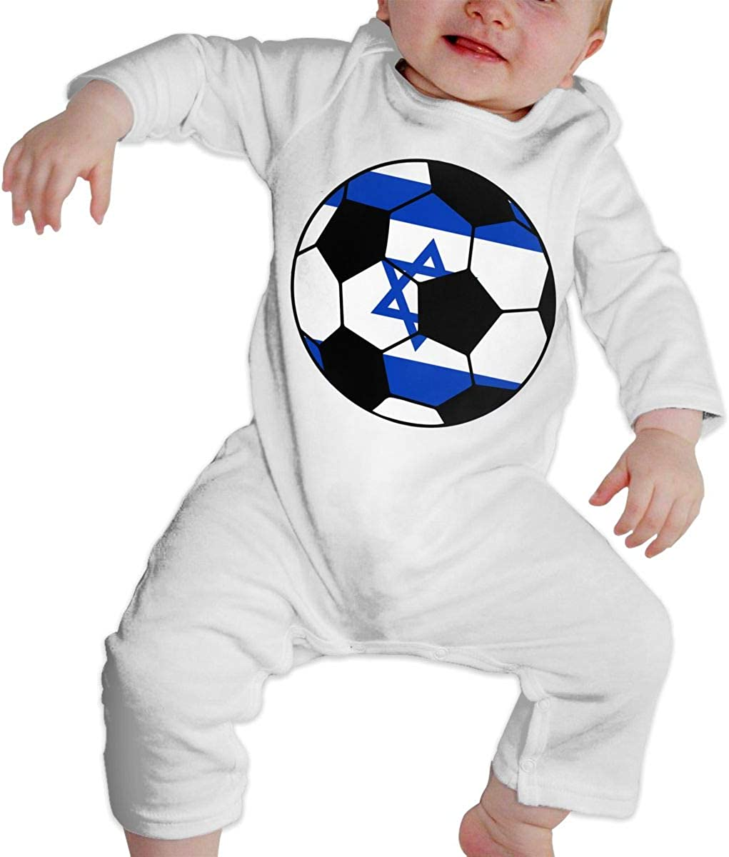YELTY6F Israel Soccer Flag Printed Baby Bodysuit Long Sleeve Outfits White
