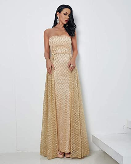 Miss ord Sexy Strapless Sleeveless Glitter Cloak Evening Dresses at Amazon Womens Clothing store: