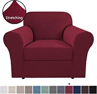 Stretch Slipcovers Sofa Covers Furniture Protector with Elastic Bottom, Anti-Slip Foams 2 Pieces Couch Shield, Lycra Spandex Jacquard Fabric with Small Checks (Chair, Burgundy)