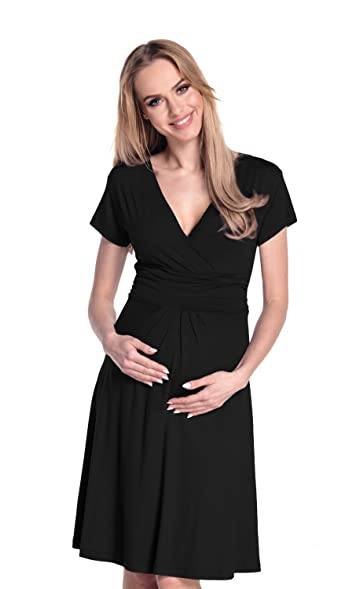 Womenu0027s Maternity Jersey Flare Baby Shower Dress Short Sleeves. 108p (Black