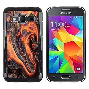 QCASE / Samsung Galaxy Core Prime SM-G360 / arte lava magma del volcán naturaleza tierra fuego caliente / Delgado Negro Plástico caso cubierta Shell Armor Funda Case Cover