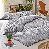 4 PC Set Doona Bedding Boho Indian Duvet Cover Reversible Doona Cover with 1 pc Tapestry Queen Size Bedsheet Elephant Mandala Wall Hanging Beach Throw & Pillow Covers Hippie