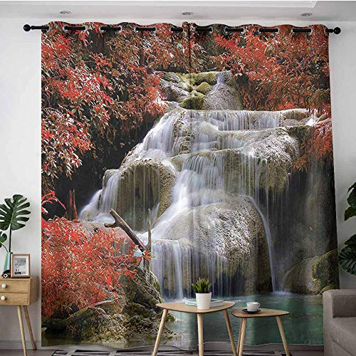 XXANS Indoor/Outdoor Curtains,Waterfall,Fall Trees with Rock,for Bedroom Grommet Drapes,W84x72L