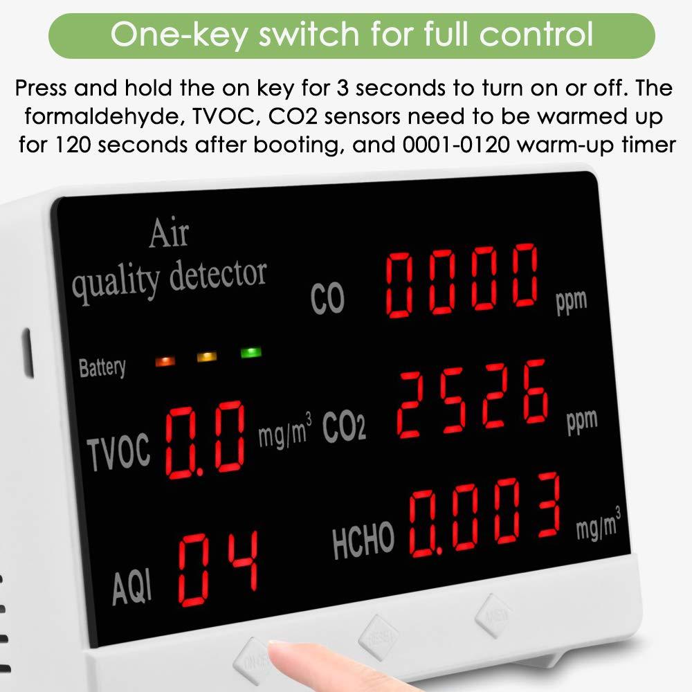 Probador de calidad del aire multifuncional Medidor de CO2 TVOC Dispositivo de medici/ón de temperatura y humedad