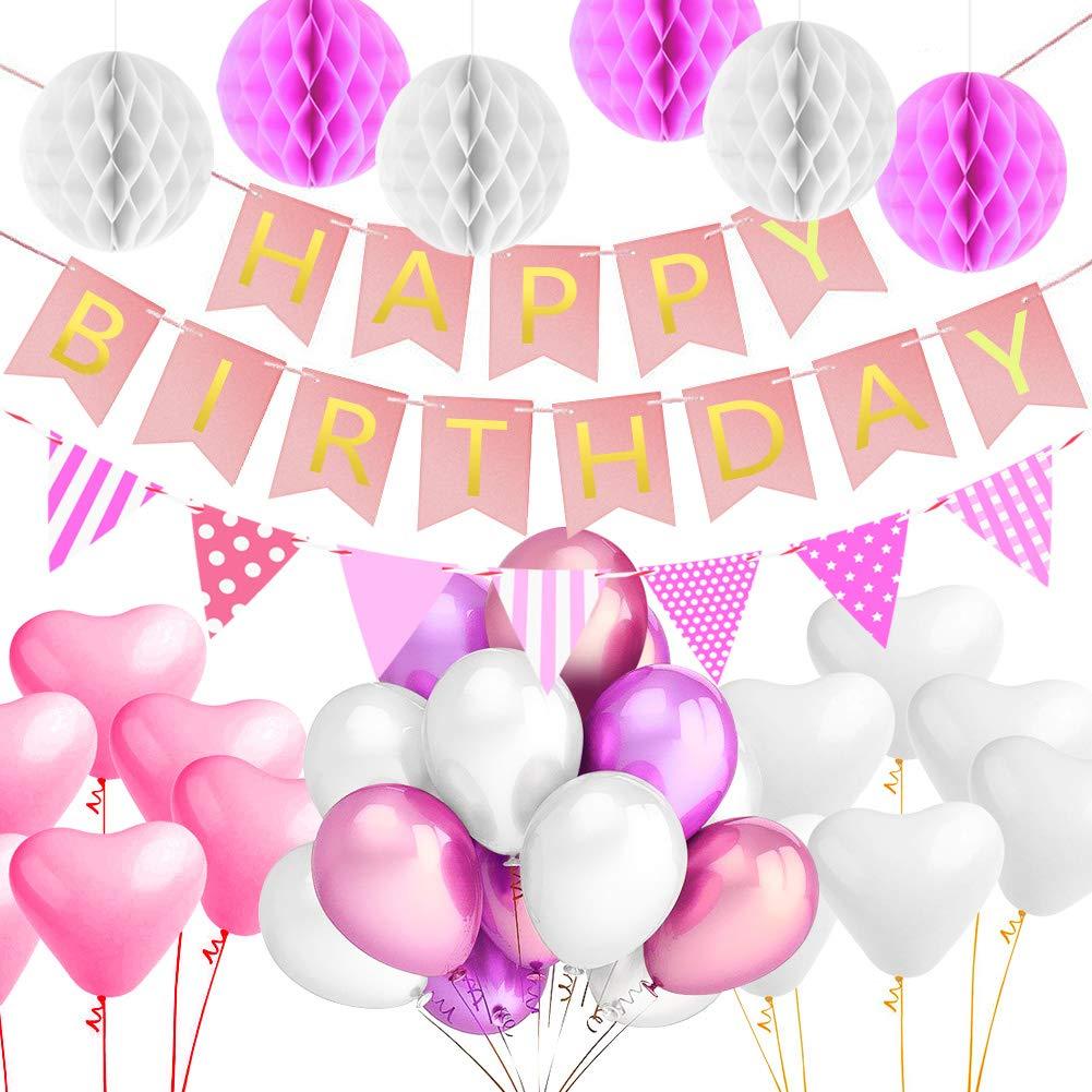 Alintor Party Geburtstag Dekoration, 1 Happy Birthday Banner + 6 Tissue  Papier Pom Poms +