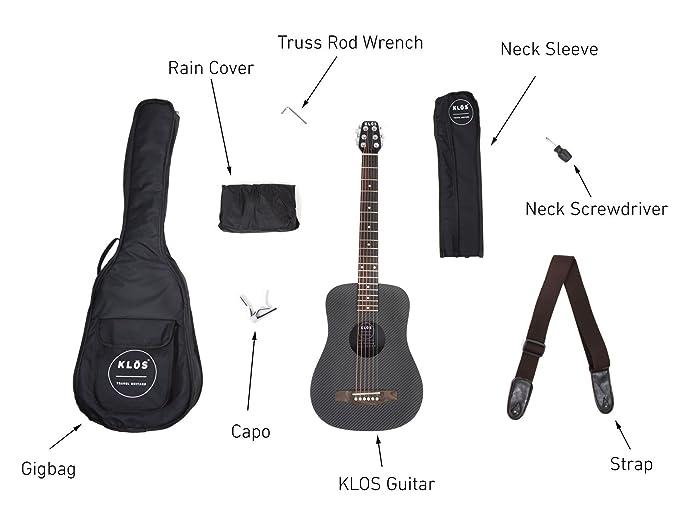 KLOS Black Carbon Fiber Travel Acoustic Guitar Package (Guitar, Gig Bag,  Strap, Capo, and more)