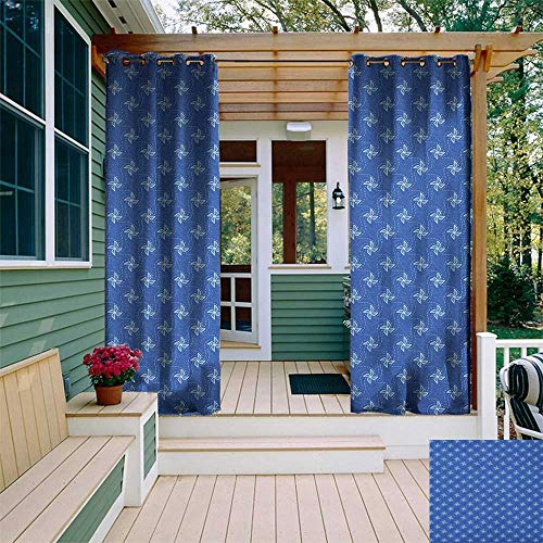 leinuoyi Pinwheel, Outdoor Curtain Set, Symbol of Wind Farm Turbines Map Pattern with Renewable Energy Nature Eco, for Patio W108 x L108 Inch Blue and White