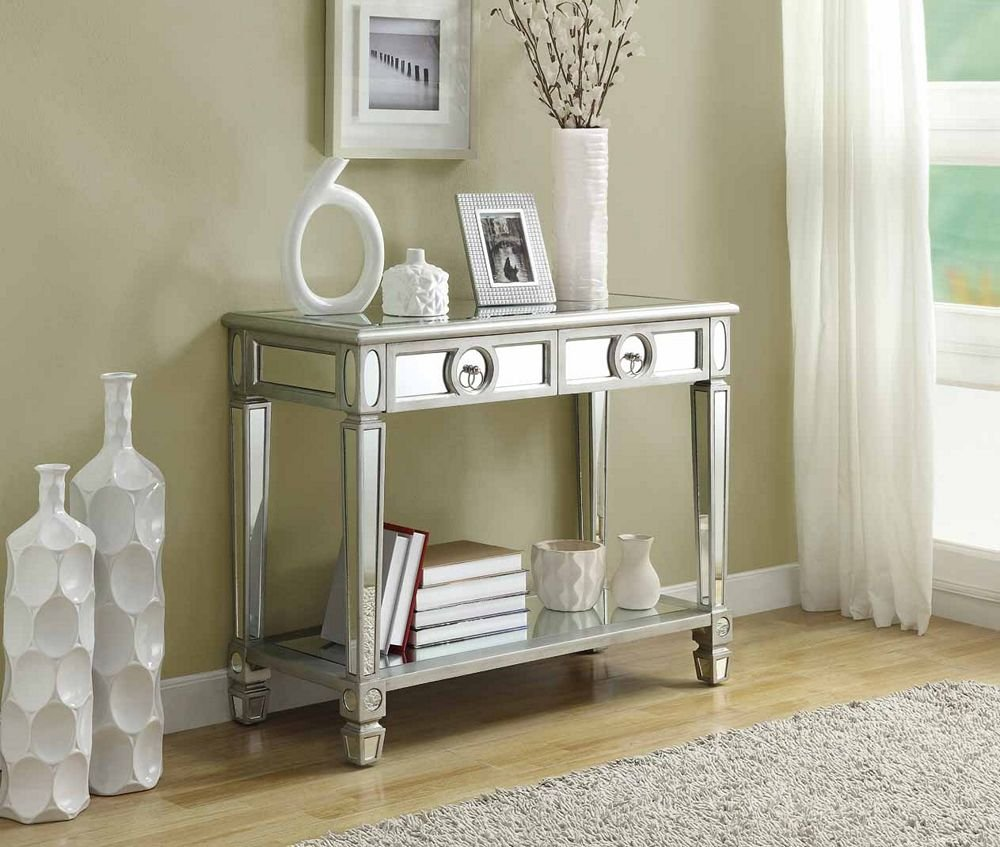 Amazon.com Monarch Specialties Length Sofa Console Table with 2-Drawer 38-Inch Mirrored Kitchen \u0026 Dining & Amazon.com: Monarch Specialties Length Sofa Console Table with 2 ...