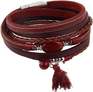 Baosity Ethnic Fashion Exquisite Braide Multilayer PU Leather Tassel Agate Bracelet