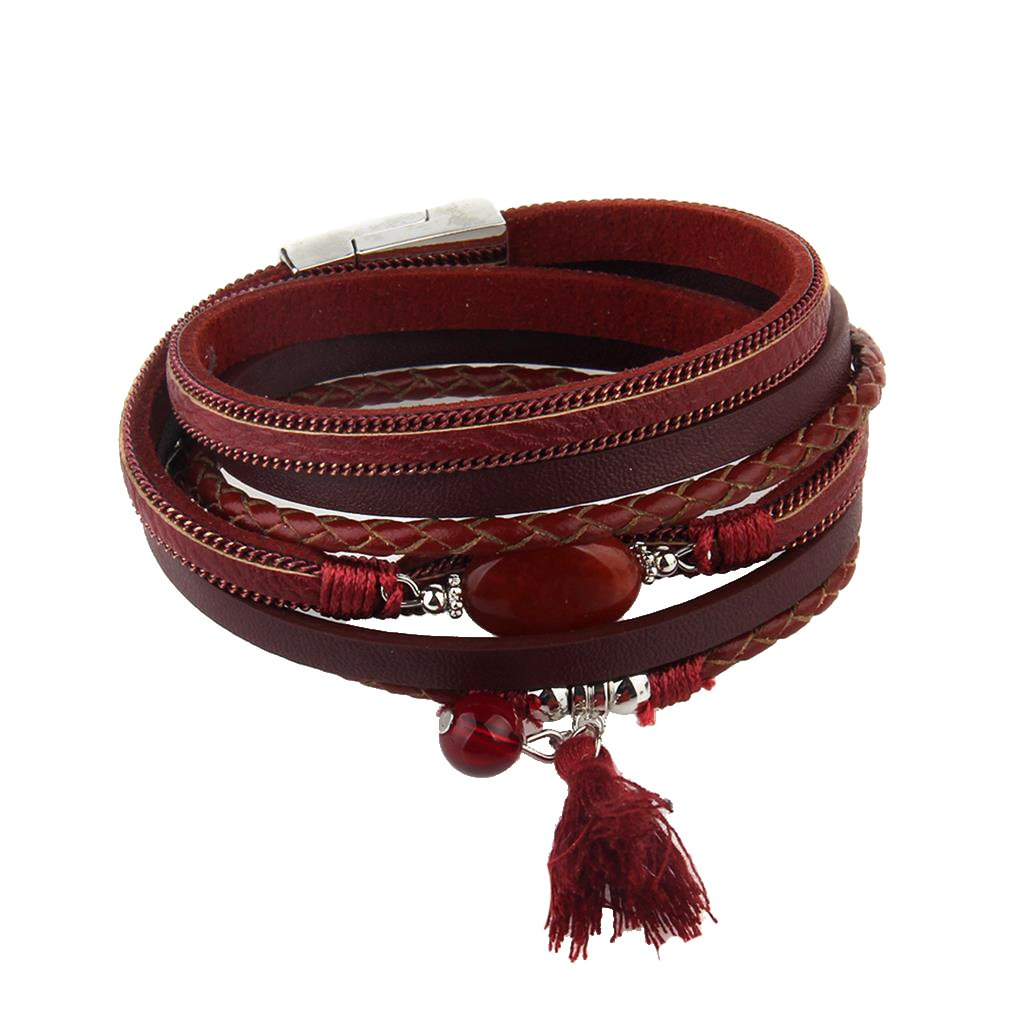 Dovewill New Native American Multilayer Weave PU Leather Bracelet with Gorgeous Fringe Tassel Agate - Red