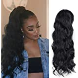 AISI BEAUTY Synthetic Ponytail Drawstring Curly Ponytail Extension for Black Women Clip on Curly Ponytail Wavy Magic Paste 20 Inches Ponytail (Color:1B)