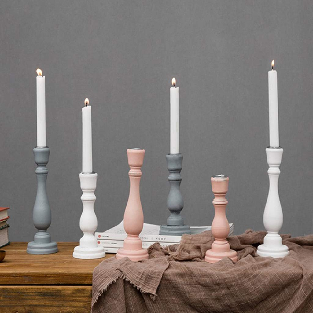FLAMEER 2pcs Pillar Candle Stick Solid Color with Candle Plate 18.5cm//23.5cm Tall White/&Gray