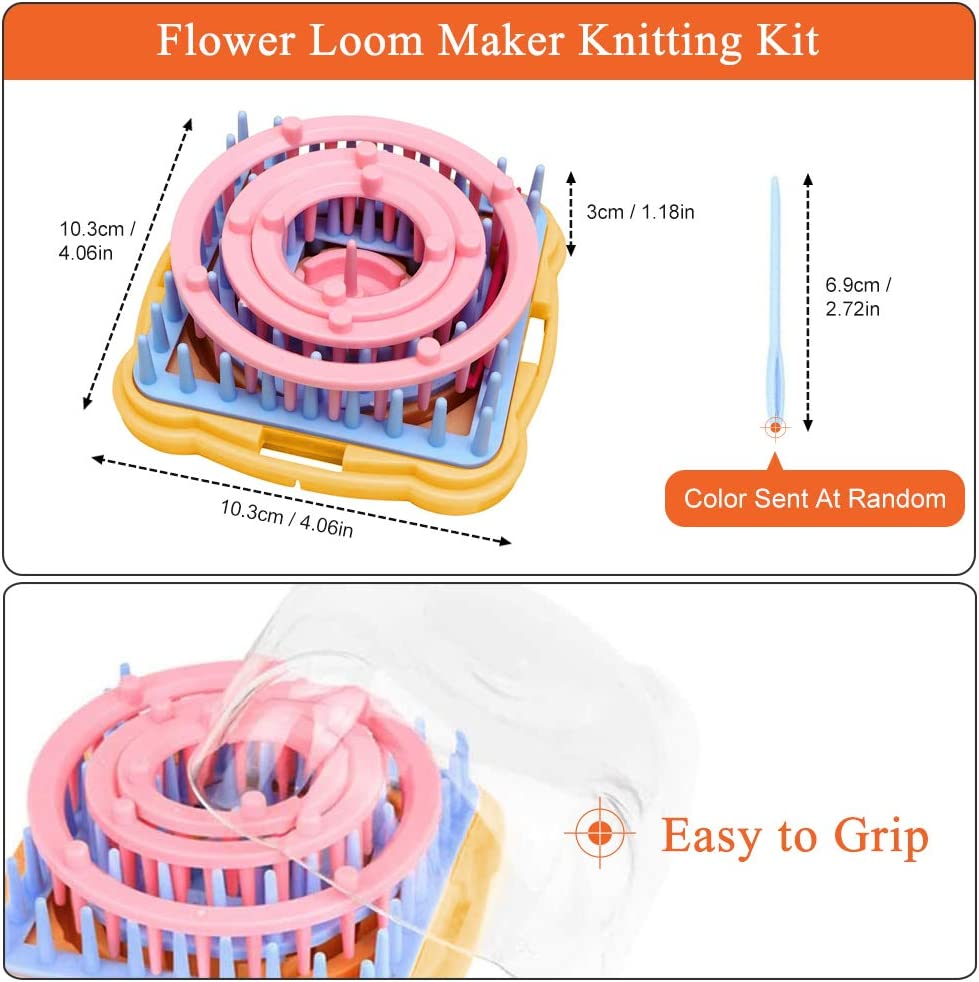 9 Pcs Knitting Looms Set DIY Wool Yarn Craft Kits Tool for Socks Gloves Hats Making Round Knitting Loom Set with 1 Plastic Needles for Flower Weaving Loom Knitting Machine Accessories Flower Loom