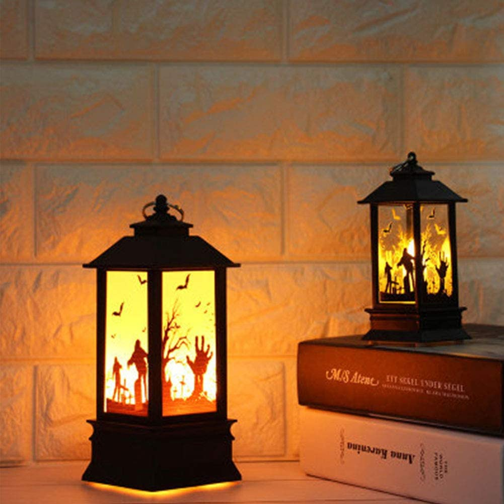 Flame Lamp Lantern Castle Decor Vintage Pumpkin Party Hanging Light for Halloween Decoration wistaria251 Halloween Simulated Flame Candle Lights