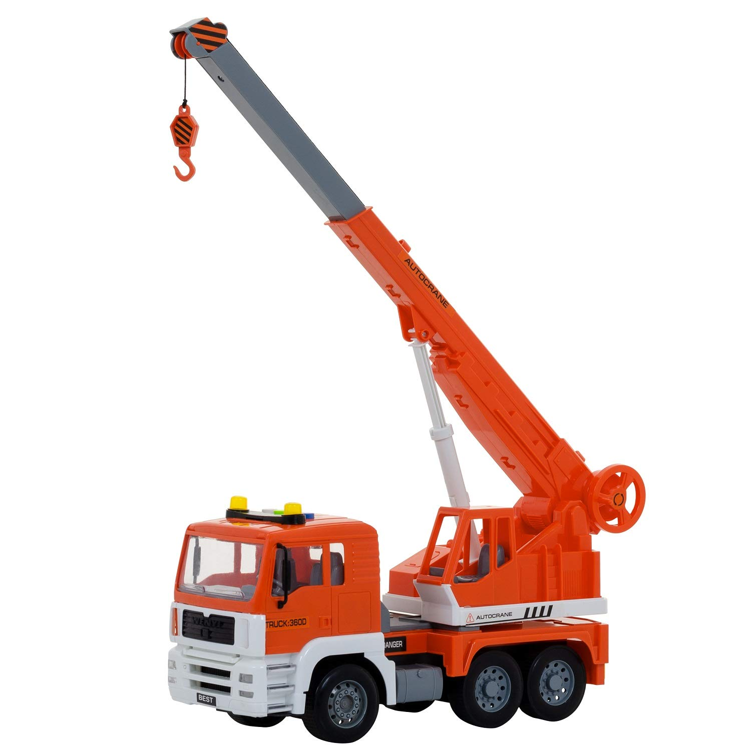 Construction Crane Truck Toy | Friction Powered | Lights And Sounds | Extendable Arm | Extendable String | Batteries Included | 6-Wheeler Crane Truck | Great Car Toys Gift Giveaways For Boys & Girls JoyABit