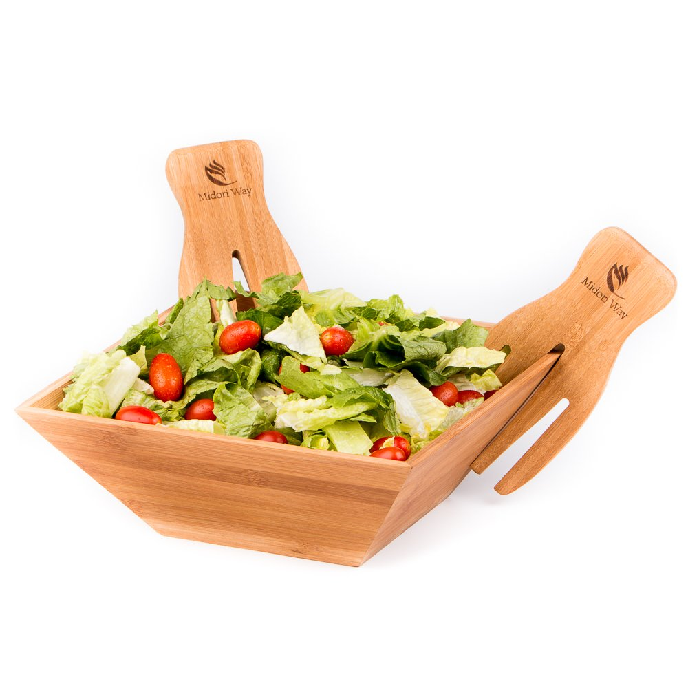 Wood Salad Bowl Set With Bamboo Servers, Best For Serving Salad, Pasta, and Fruit. Beautiful Bowl Looks Great On Your Kitchen Counter. Safe & Eco-Friendly, By Midori Way