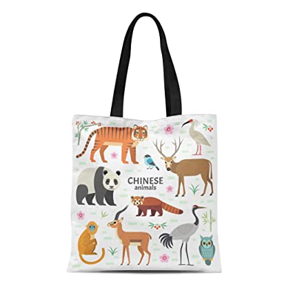 ca0e4afe5f5e Amazon.com: Semtomn Cotton Canvas Tote Bag Chinese Animals Panda Red ...