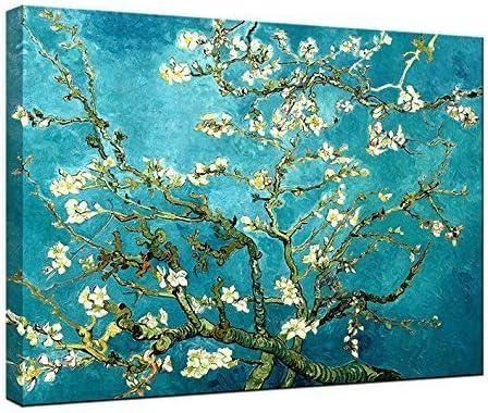 Wieco Art – Lienzo con diseño de Flores de Almendra y Flores de Van Gogh Famosas Pinturas al óleo, reproducciones de Flores en Lienzo, Listo para Colgar para Decorar el Dormitorio o el hogar