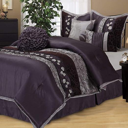 Amazon Com Os 7 Piece Queen Luxurious Purple Comforter Set