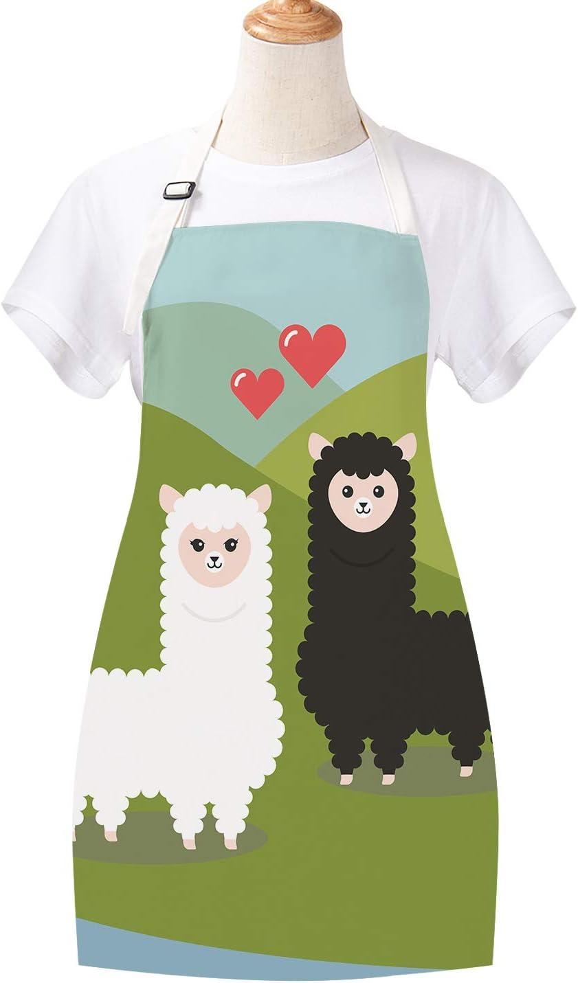 Cute Women Alpacas Apron Baking Kitchen Aprons Cooking Animal Apron for Women Waterproof