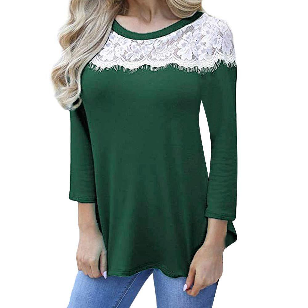 Kumike Fashion Women Casual O Neck Lace Patchwork Long Sleeve Blouse T-Shirt Tunic Tops
