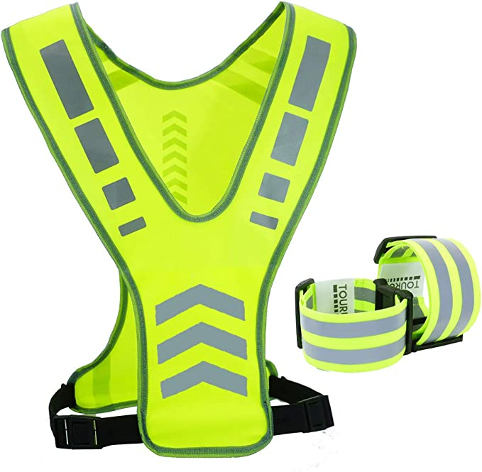 MSKBBSET Reflective Night Running Vest with Adjustable Strap Yellow Cycling Walking Hiking Ultrathin Lightweight Safety Vest with 360/° High Visibility for Running Jogging