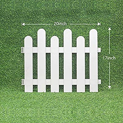 "V Protek Picket Fence Decorative Garden Fence, Plastic Garden Fencing White (4 Pack) 20"" L x18 H"