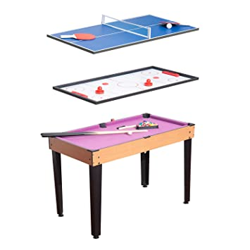 Peachy Homcom 3 In 1 Multi Games Table Billiards Pool Table Tennis Hockey Table Top With Accessories Download Free Architecture Designs Lectubocepmadebymaigaardcom