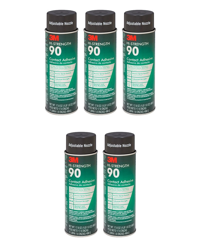 3M Spray Adhesive, 17.6 Ounce (5 Cans)