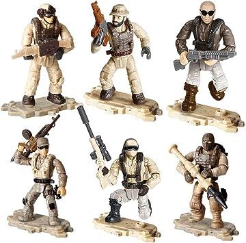 YEIBOBO Special Forces Figura de acción de 2 pulgadas con armas militares y accesorios, 6 unidades, Serie Desierto: Amazon.es: Juguetes y juegos