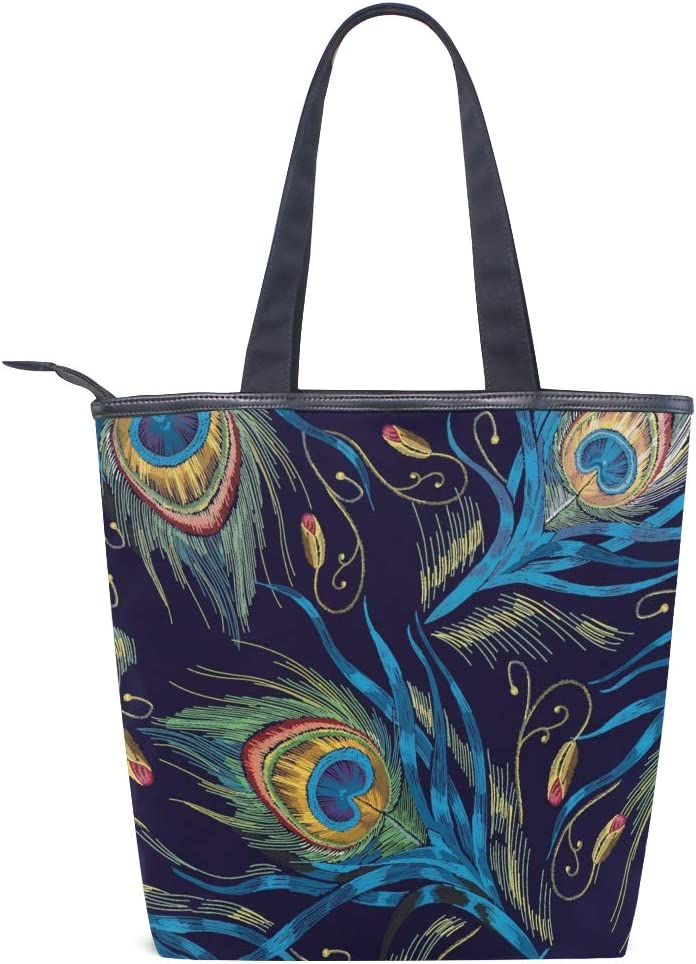 Embroidery Peacock Feathers Canvas Tote Bag,Fashion Large Capacity Handbag for Women Travel