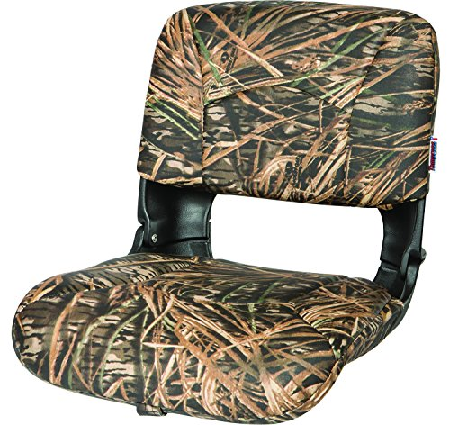 Back Boat Vinyl Seat (Tempress All Weather High Back Seat, Black Seat/Mossy Oak Shadow Grass Cushion Vinyl)