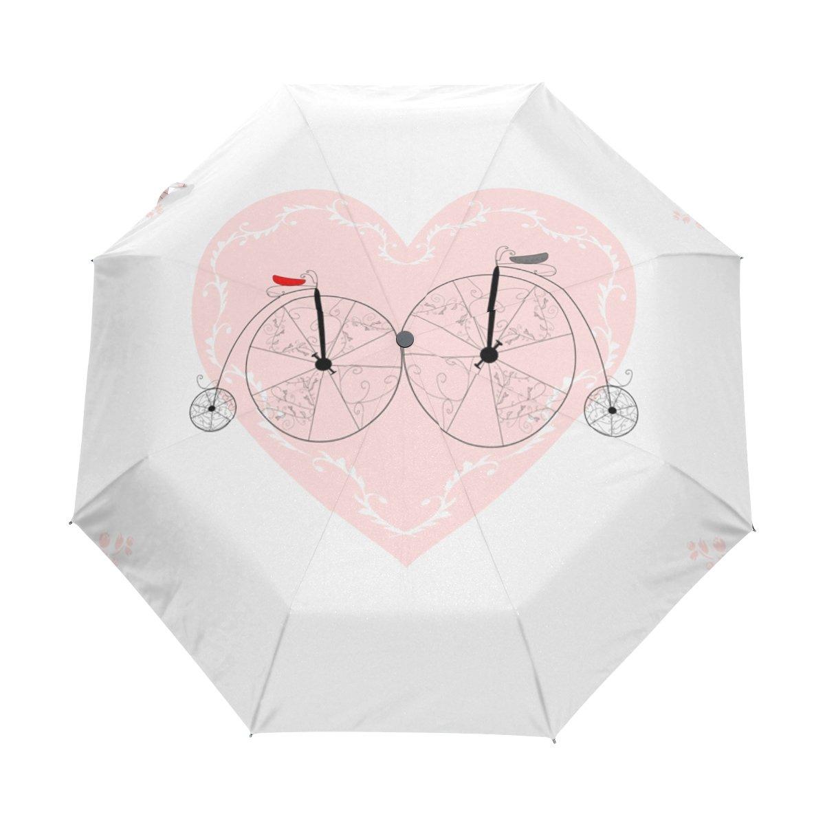 JSTeL Valentine 's Day Love Heart防風UV傘Auto Open Close 3折りたたみゴルフStrong Durableコンパクト旅行太陽傘、ポータブル軽量簡単キャリー   B06XYR61VV