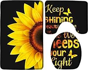 3 Pieces Bath Rug Set Toilet Seat Cover Sunflower in Black Background,Gold Word Print Contour Rug,Pedestal Mat and Toilet Lid Cover,Non-Slip Bathroom Floor Mat