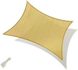 Osimlead 8' x 12' Rectangle Sand Sun Shade Sail UV Block Canopy 185GSM Awning for Patio Backyard Garden