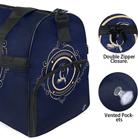 Lightweight Water Resistant Tear Resistant FANTAZIO Monogram Sports Bag Packable Travel Duffle Bag