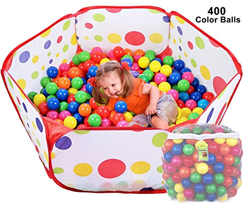 Click N Play Ball Pit Playpen Playset, Includes 400 BPA Free, Crush Proof, Play Balls Plus Zippered Mesh Storage