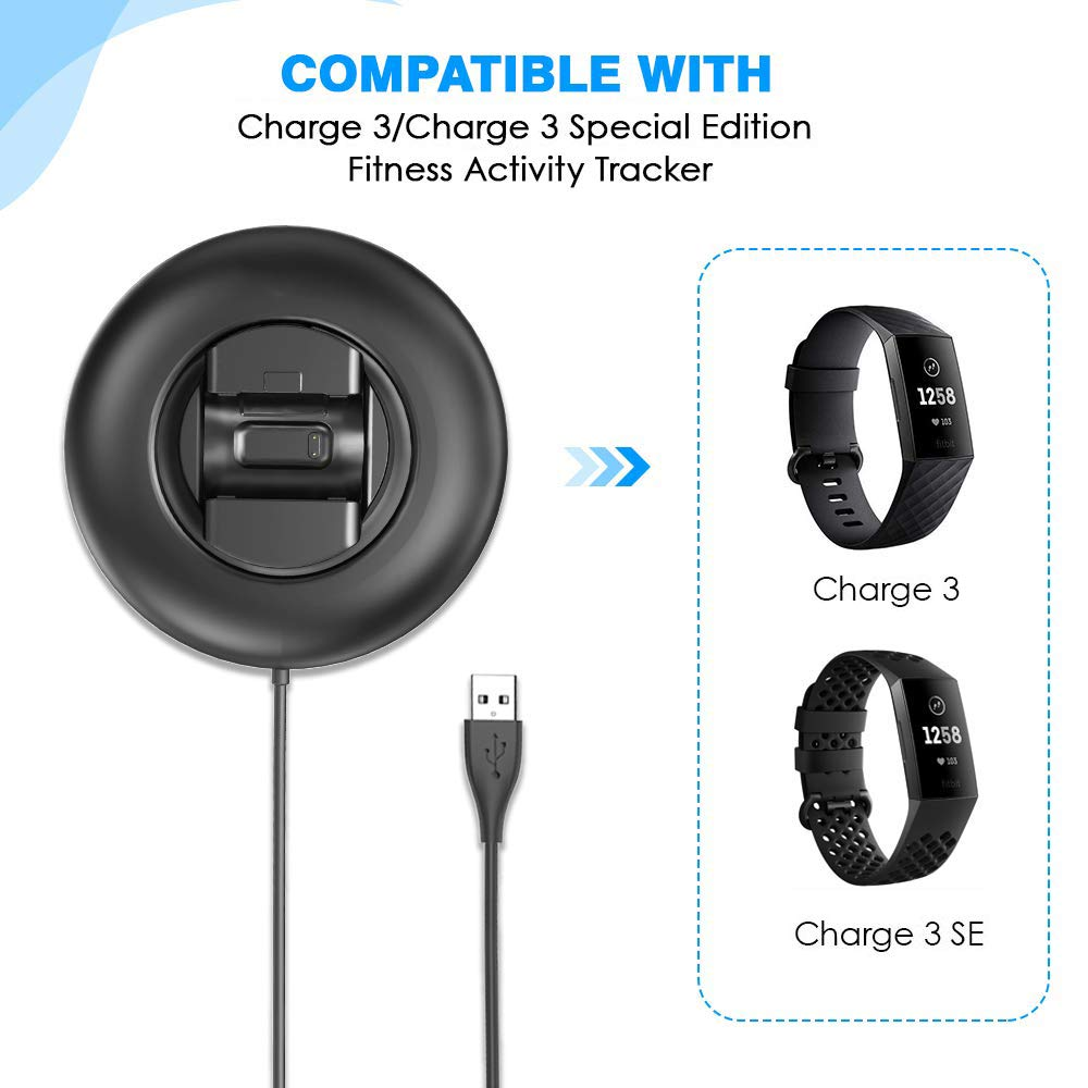 KIMILAR Cargador Compatible con Fitbit Charge 3 Cable Base de Carga USB Repuesto Cargador para Charge 3 /& Special Edition Fitness Tracker